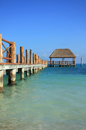 Boat dock in the Caribbean Sea at an eastern Mexico resort