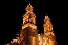 Morelia Cathedral at night, Michoacan, Mexico