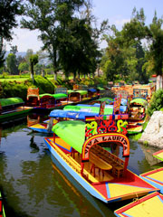 Trajineras - tour boats - in Xochimilco, Mexico City