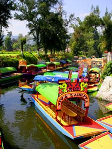 Trajineras - tour boats - in Xochimilco, Mexico City
